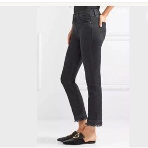 RAG & BONE Black Croyden Hana Raw Hem Jeans